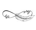 Veertjes tattoo voorbeeld Love Life, Veertje, zonder Schaduw