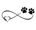 Overige dieren tattoo voorbeeld Oneindig met Hartje en Hondenvoetjes