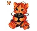 Overige dieren tattoo voorbeeld Vintage katje met touw