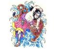 Japans tattoo voorbeeld Samurai met Tijger