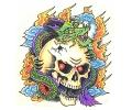 Skulls Kleur tattoo voorbeeld Skull met Draak 2