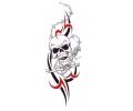 Skulls Kleur tattoo voorbeeld Skull Tribal